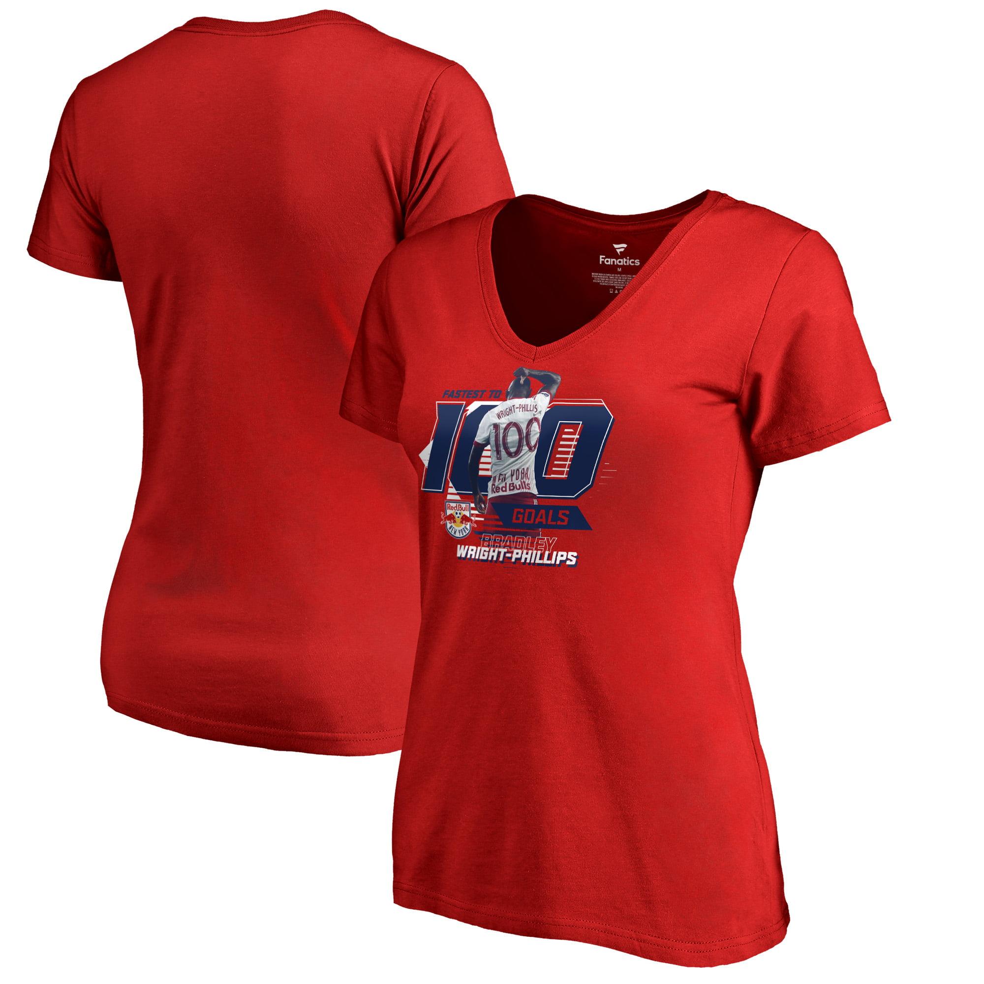 Bradley Wright-Phillips New York Red Bulls Fanatics Branded Women's 100th Goal V-Neck T-Shirt - Red