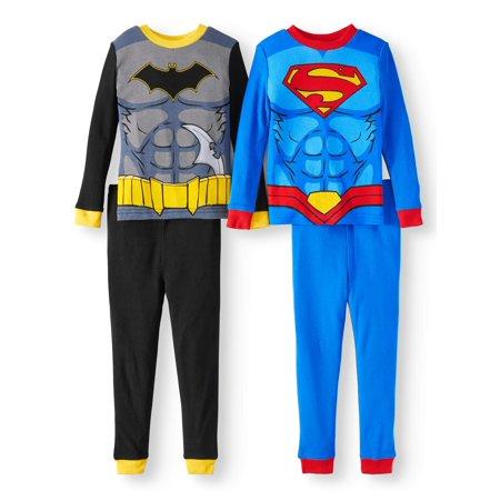 Justice League Toddler Boys' Batman and Superman Long Sleeve Pajamas, 4-Piece Set - Batman Pajamas For Babies