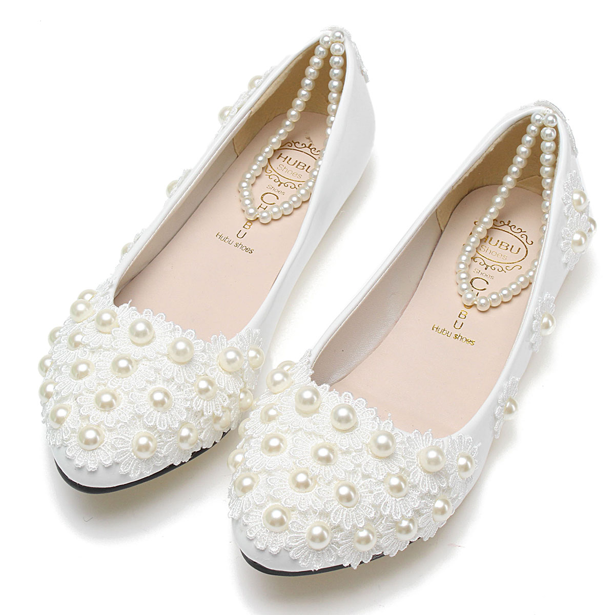 Invech Inc Chic Women White Lace Wedding Shoes Pearls Ankle