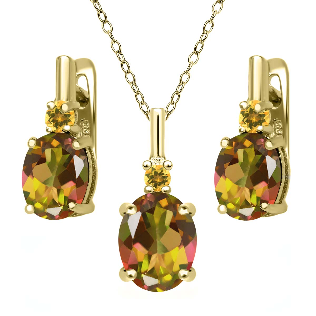 Mystic Topaz and Simulated Citrine 18K Gold Plated Silver Pendant Earrings Set by
