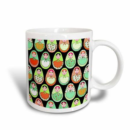 Matryoshka Mug (3dRose Cute Russian Matryoshka Nesting Dolls Print - Warm Colors Black - Ceramic Mug,)
