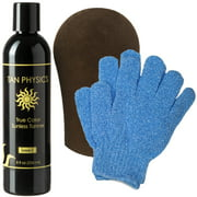 Tan Physics True Color Tanner 8 oz w/ FREE Tanning Mitt and Exfoliation Gloves by Sans-Sun