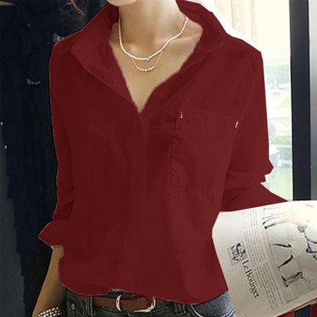 (OUMY Women Chiffon Button Down OL Shirt Blouse)