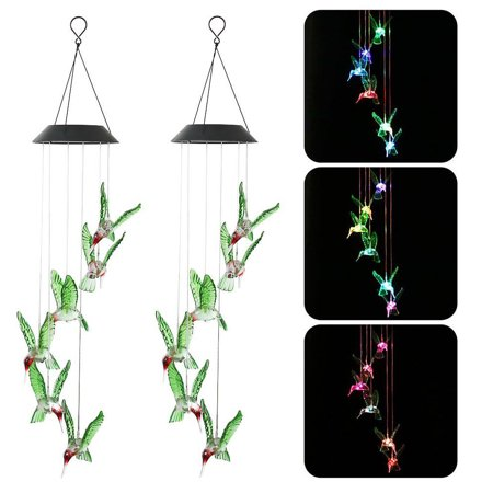 2-pack Color-Changing LED 6 Hummingbird Solar Wind Chimes Yard Home Garden Decor ()