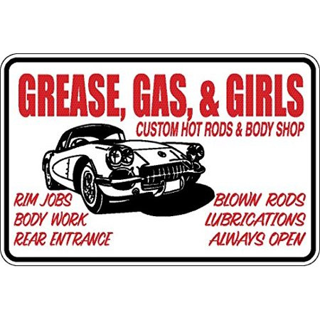 Funny Sign Grease, Gas and Girls Man Cave Sign Aluminum Sign - Girl Greaser