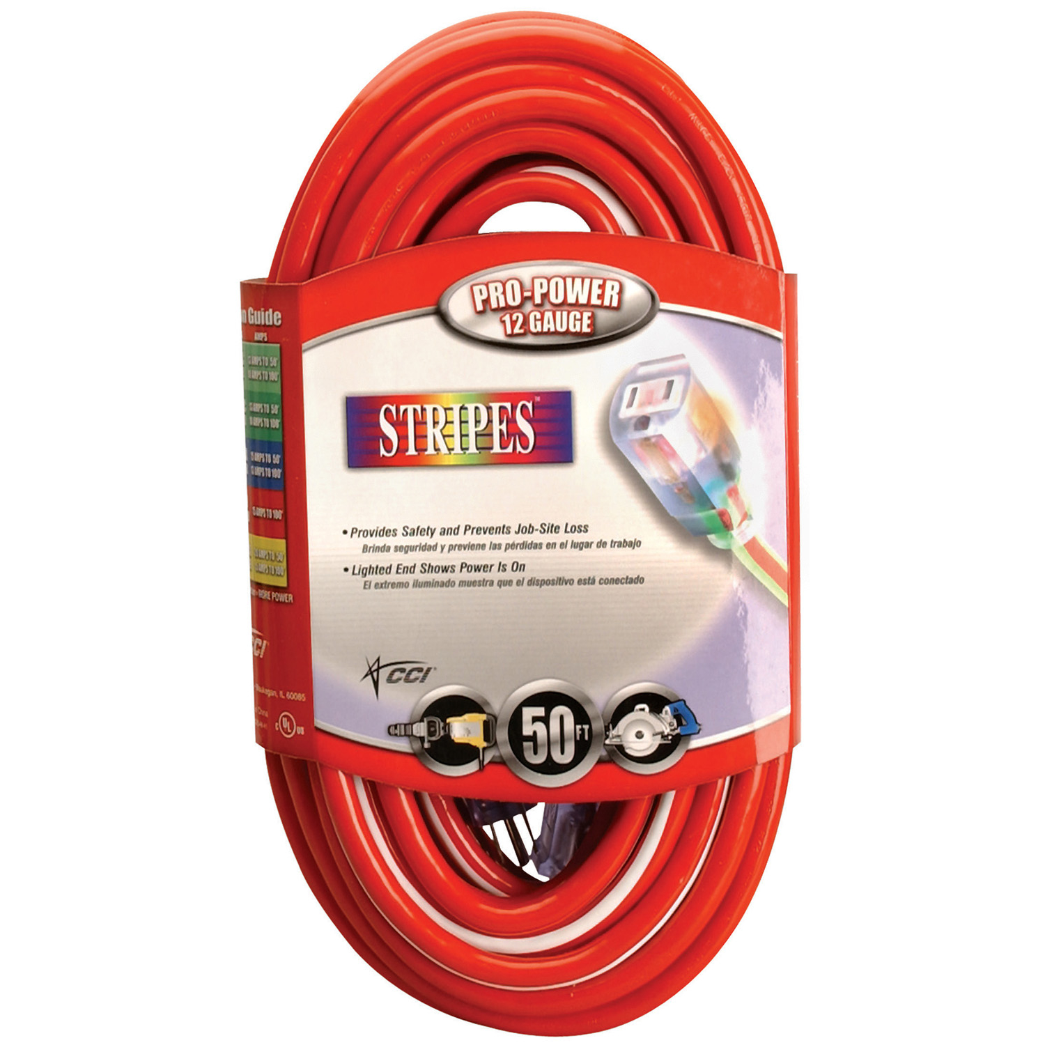 Coleman Cable 2548SW0041 50' Red & White 12/3 Outdoor Extension Cord