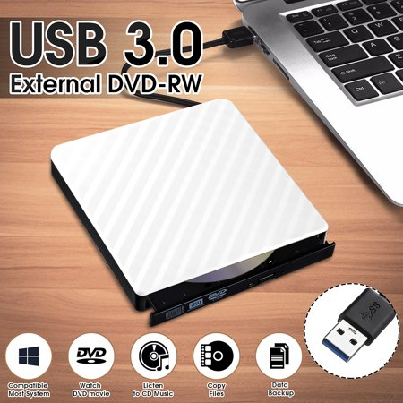 USB 3.0 External DVD CD Drive, Slim Portable External DVD/CD RW Burner Drive for Laptop, Notebook, Desktop, Macbook Pro, Macbook (Best Way To Connect Macbook Air To External Monitor)