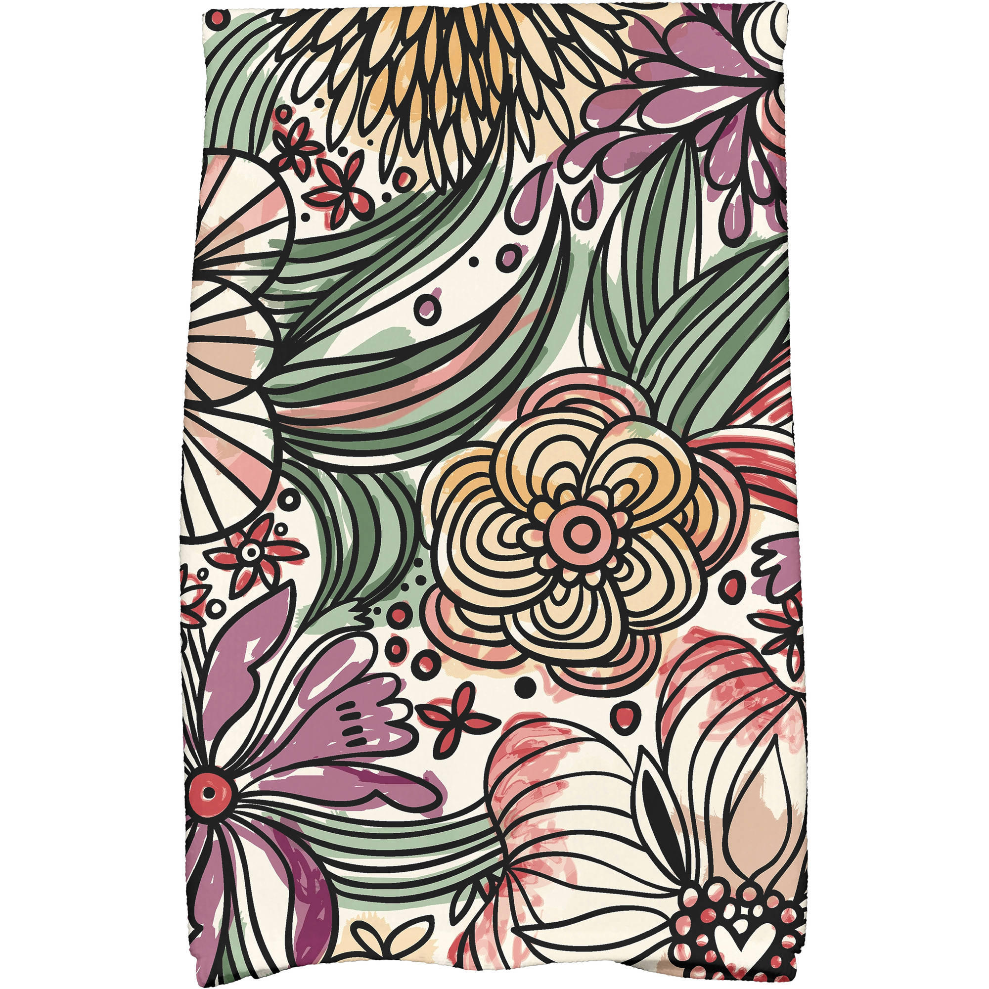 "Simply Daisy 16"" x 25"" Zentangle Floral Floral Print Kitchen Towel"