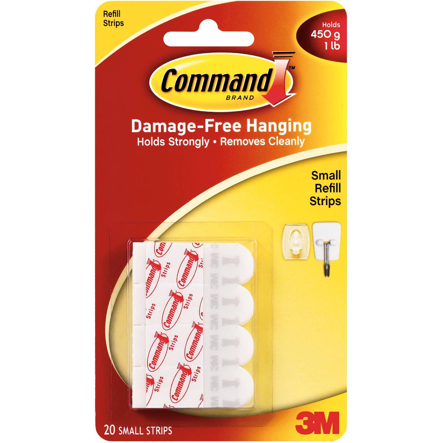 Command Small Refill Strips, White, 20 Strips, 17022