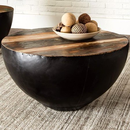 A Line Furniture Black Iron Drum Shaped Accent Coffee Table with Natural Reclaimed Wood Top ()
