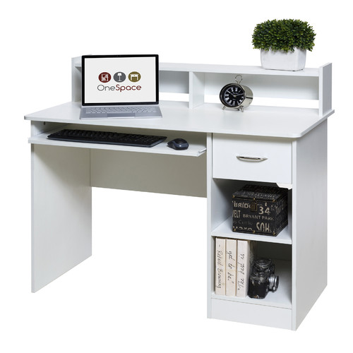 Comfort Products Essential Computer Desk, Hutch, Pull Out Keyboard,  Multiple Colors