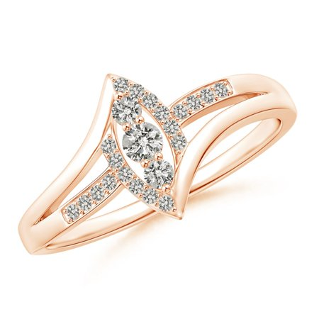 April Birthstone Ring - Vertically-Set Three Stone Diamond Split Bypass Promise Ring in 14K Rose Gold (2.5mm Diamond) - SR1583D-RG-KI3-2.5-6.5
