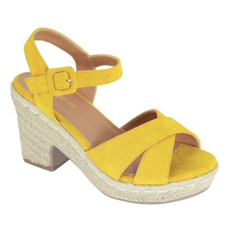 5792ee8093d Deck-3 Women Strappy Mary Jane Espadrille Platform Low Block Heel ...