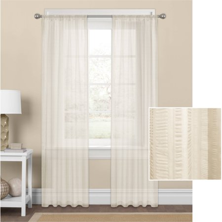 Mainstays Seersucker Textured Sheer Window Curtain Panel