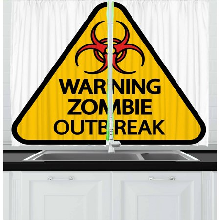 Zombie Curtains 2 Panels Set, Warning the Zombie Outbreak Sign Cemetery Infection Halloween Graphic, Window Drapes for Living Room Bedroom, 55W X 39L Inches, Earth Yellow Red Black, by Ambesonne](Halloween Cemetery Signs)