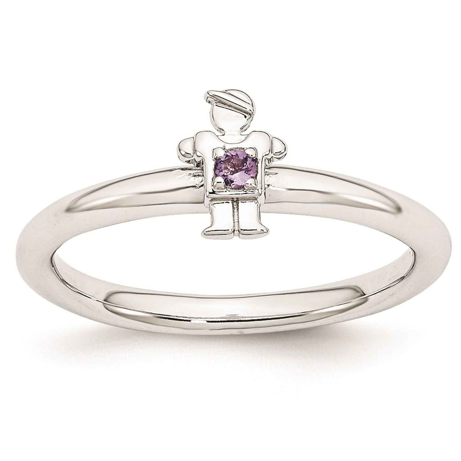 925 Sterling Silver Rhodium Plated Amethyst Boy Stackable Ring Size 9