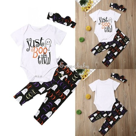 Loom Bands Halloween Ghost (Halloween New Baby Boy Girl 3PCS Outfits Letter Ghost Printed Short Sleeve Bodysuits Tops White +Black Long Pants)