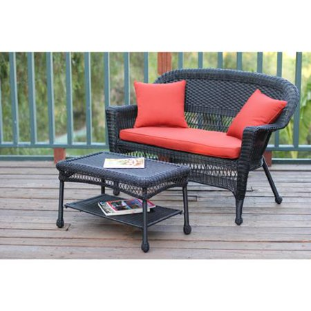 black wicker loveseat and coffee table set red orange