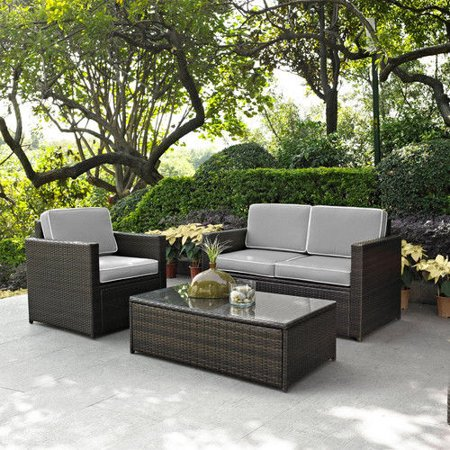- Crosley Furniture KO70006BR-GY Palm Harbor 3-Piece Resin Wicker Outdoor Seating Set (Brown/Grey)