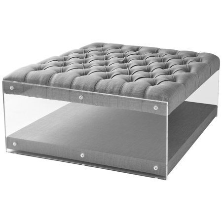 courtney light grey linen acrylic ottoman cocktail table nailhead. Black Bedroom Furniture Sets. Home Design Ideas