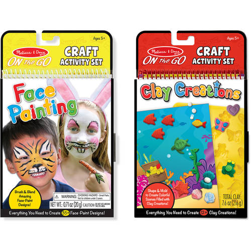Melissa & Doug On the Go Craft Activity Sets - Face Painting and Clay Creations