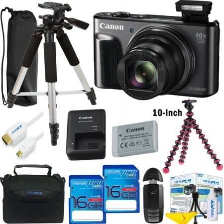 Canon PowerShot SX720 HS Digital Camera (Black) + Deal-Expo Essential Accessories Bundle](point and shoot camera deals)