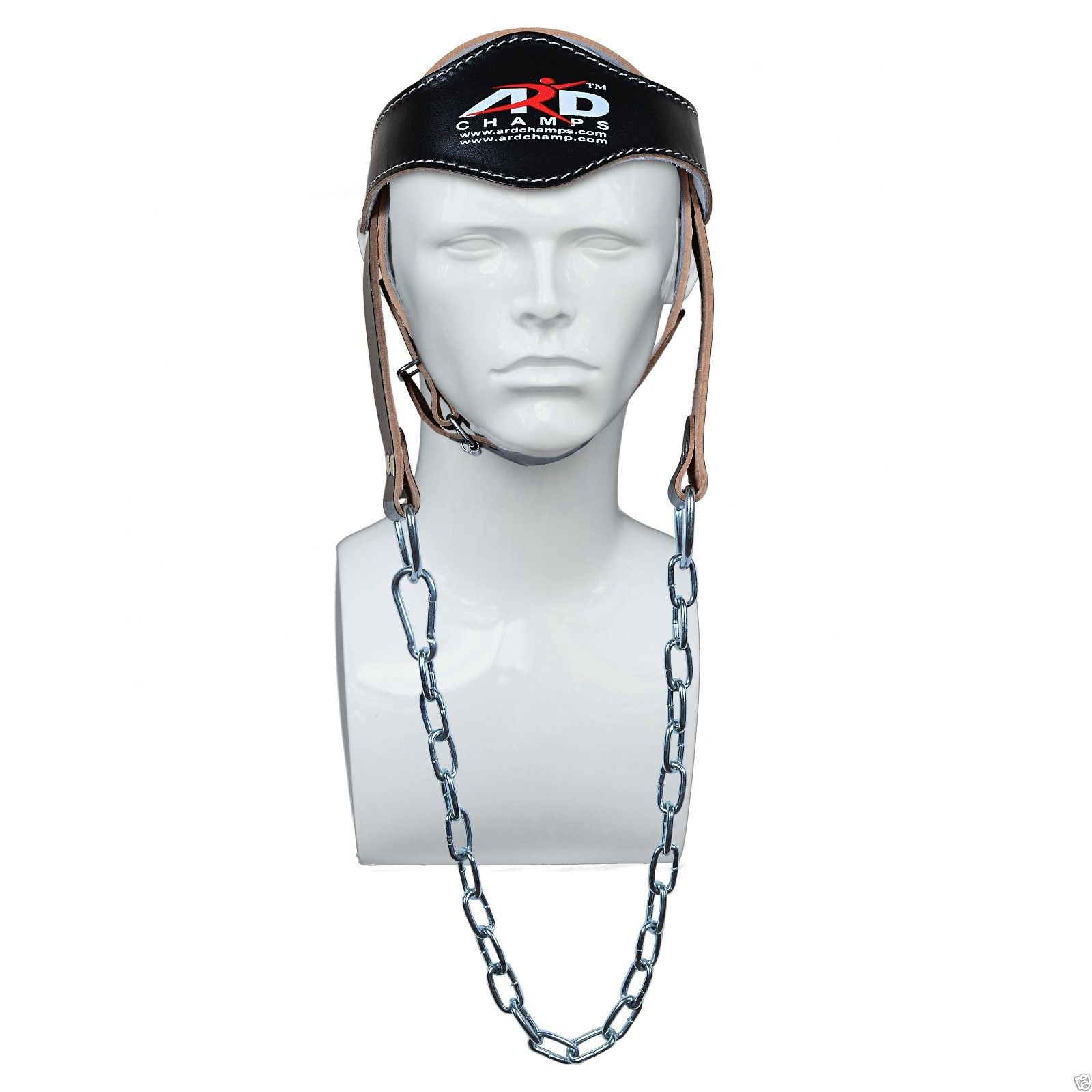ARD CHAMPS™ Gym Weight Lifting Neck Strength Harness Strap with Chain M/O Natural Leather Black