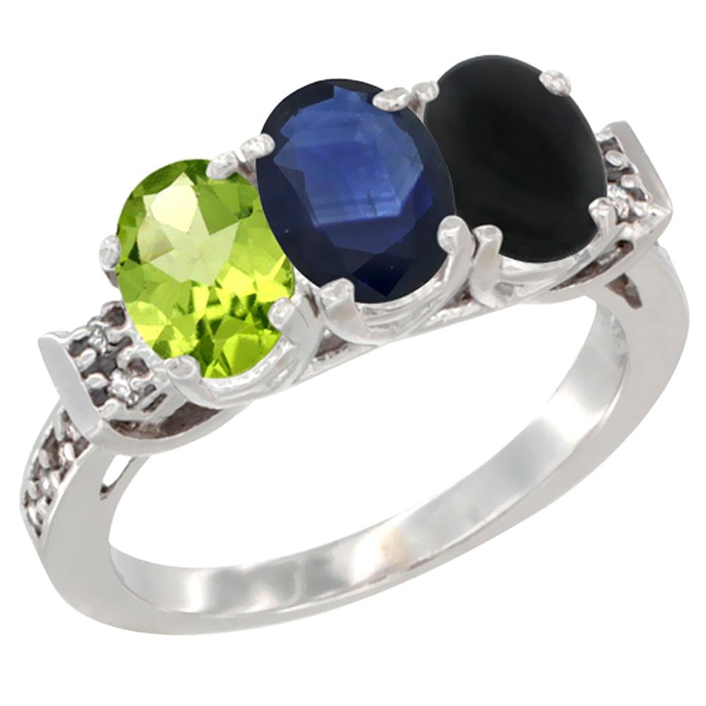 10K White Gold Natural Peridot, Blue Sapphire & Black Onyx Ring 3-Stone Oval 7x5 mm Diamond Accent, sizes 5 10 by WorldJewels