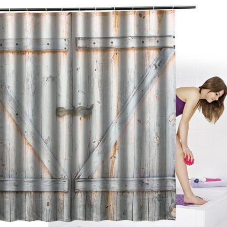 12 Hooks Waterproof Wood Door Printing Shower Curtain 3D Bathroom Free 70x70''  - image 6 de 6