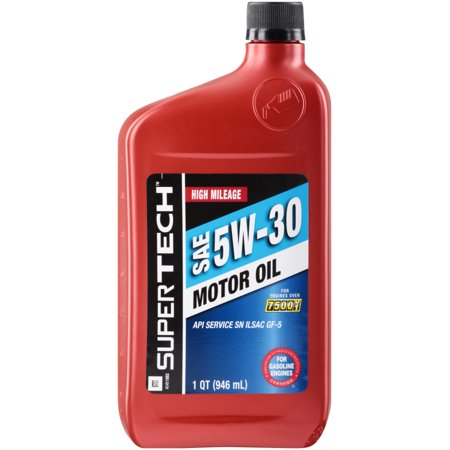 Supertech high mileage sae 5w 30 motor oil 1 qt bottle for Top 1 motor oil review