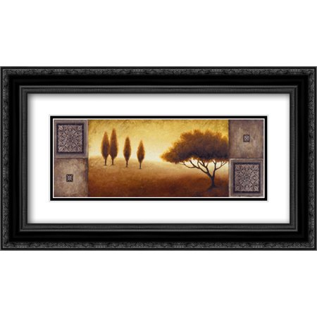 Warm Horizon I 2x Matted 24x14 Black Ornate Framed Art Print by Marcon,