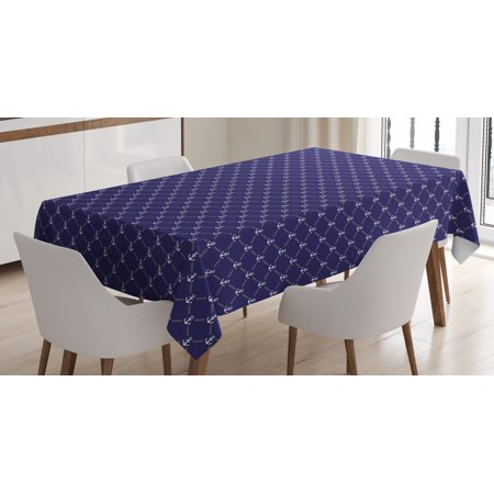 Anchor Tablecloth  Checkered Pattern With Stylized Chain And Marine Icon Ocean Cruise Vacation  Rectangular Table Cover For Dining Room Kitchen  60 X 90 Inches  Royal Blue White  By Ambesonne