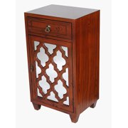 Mahogany Veneer Wood Mirrored Glass Accent Cabinet with a Drawer and a Door