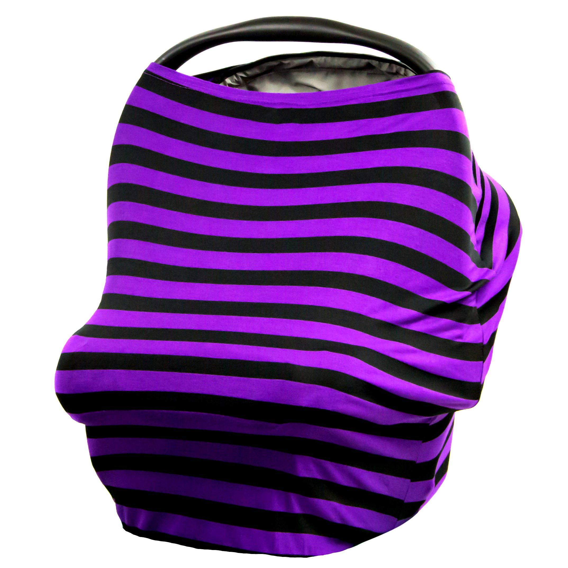 JLIKA Baby Car Seat Canopy Cover and Stretchy Nursing Cover - Purple Black Stripe