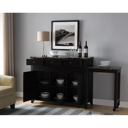 Smart Home Extendable Red Cocoa Buffet Table