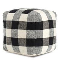 Black and White Buffalo Plaid Checkered Pouf
