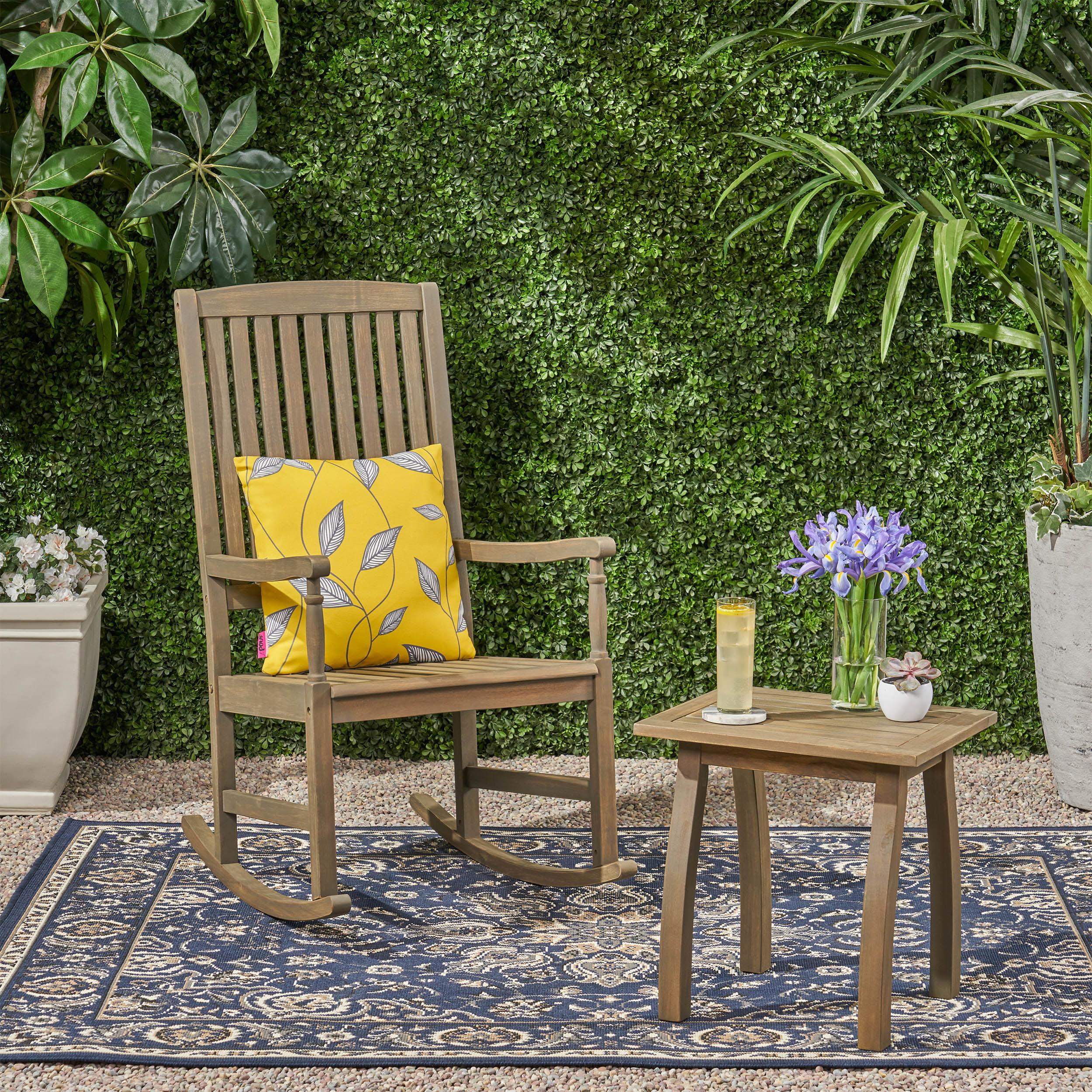 Aliya Outdoor Acacia Wood Rocking Chair And Side Table Set Gray Walmart Com Walmart Com