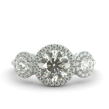 2.45 ct C&C Forever One Moissanite & Diamond 3 Stone Engagement Ring 18kWhite (Cut Moissanite 3 Stone Ring)