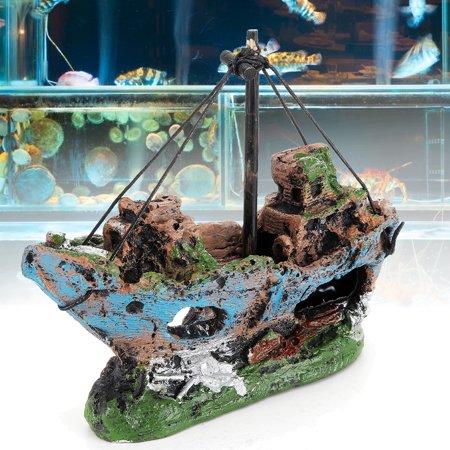 Navy Fish - Aquarium Destroyer Navy War Boat Ship Wreck Fish Tank Cave Decoration Ornament 5.51