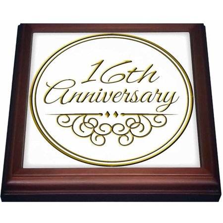 Rose 16th Anniversary Gift Gold Text For Celebrating Wedding Anniversaries 16 Years Married Together