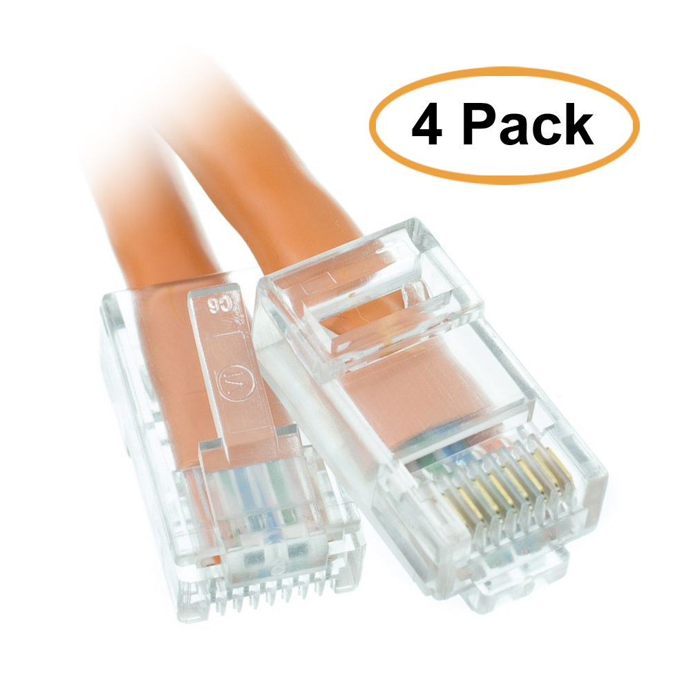 ACCL 10ft Cat5e RJ45 Bootless Ethernet Patch Cable, Orange, 4pk