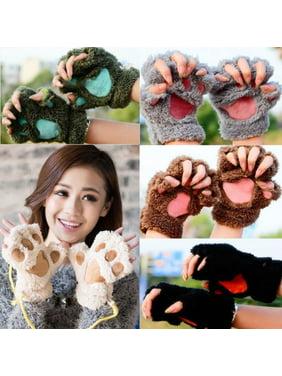 Pudcoco Winter Women Cute Cat Claw Paw Plush Mittens Short Fingerless Gloves Half Finger