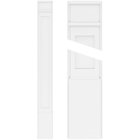 4 W x 120 H x 2 P Flat Panel PVC Pilaster w Decorative Capital Base P
