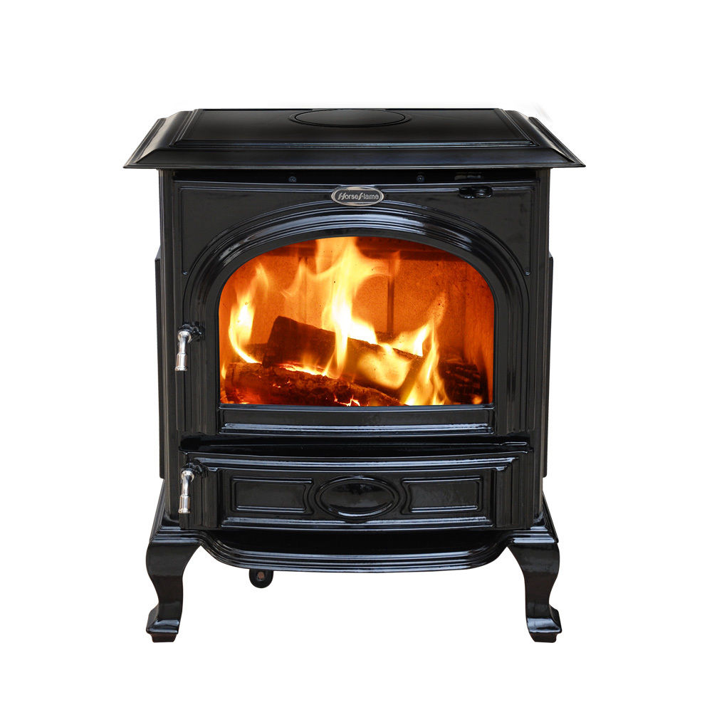 HiFlame 1,800 Square Feet cast iron wood burning stove HF717UAEBL Enamel Black