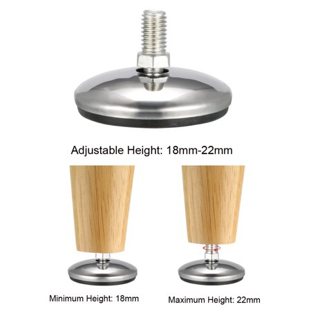 Furniture Levelers, 18mm to 22mm Adjustable Height M8 x 12.5mm Threaded, 8Pcs - image 3 de 4