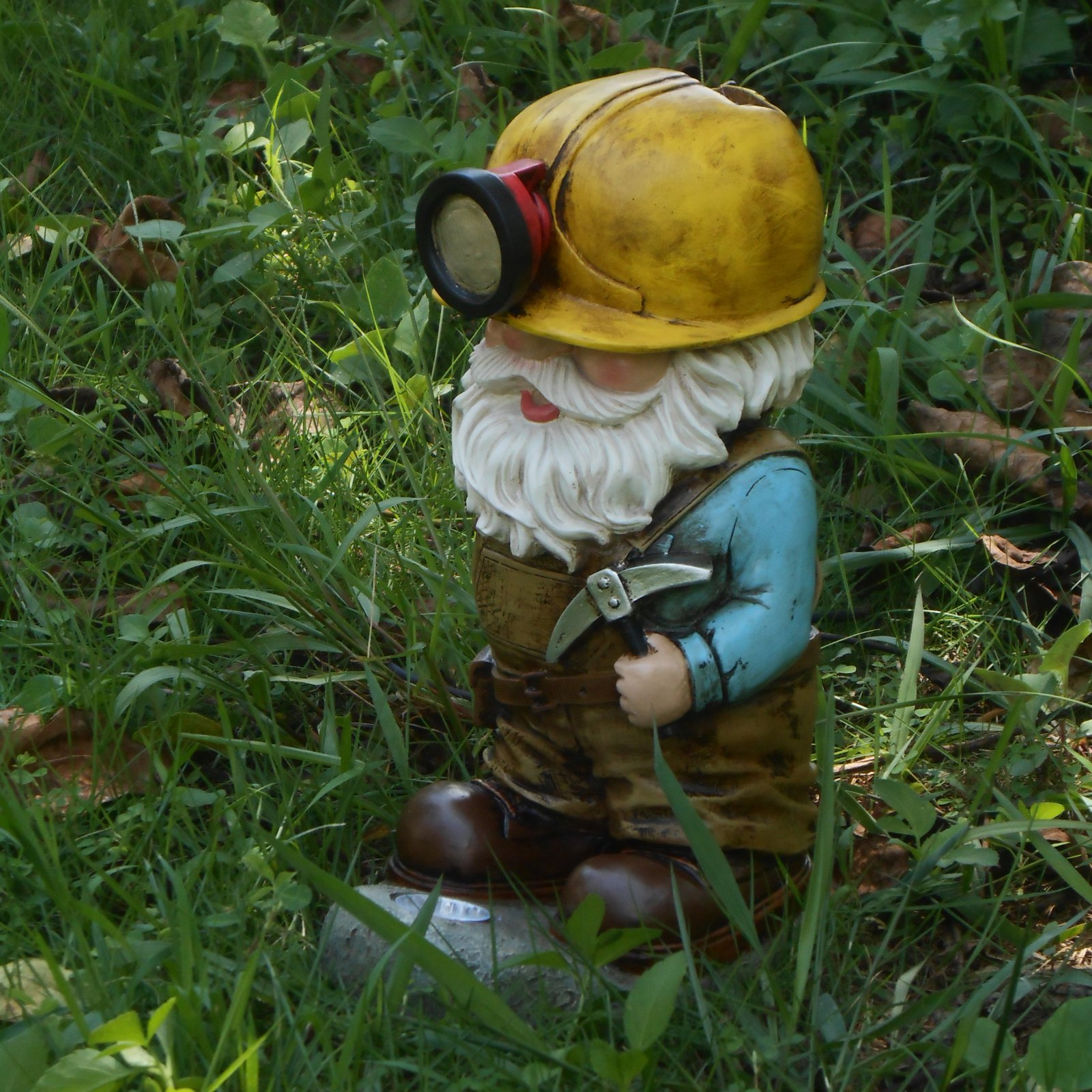 Hi-Line Gift Ltd. Light Torch Miner Gnome with Pick Axe Garden Statue by Garden Gnomes