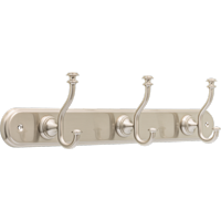"Better Homes & Gardens Safford 18"" Hook Rack With 3 Hooks, Satin Nickel"