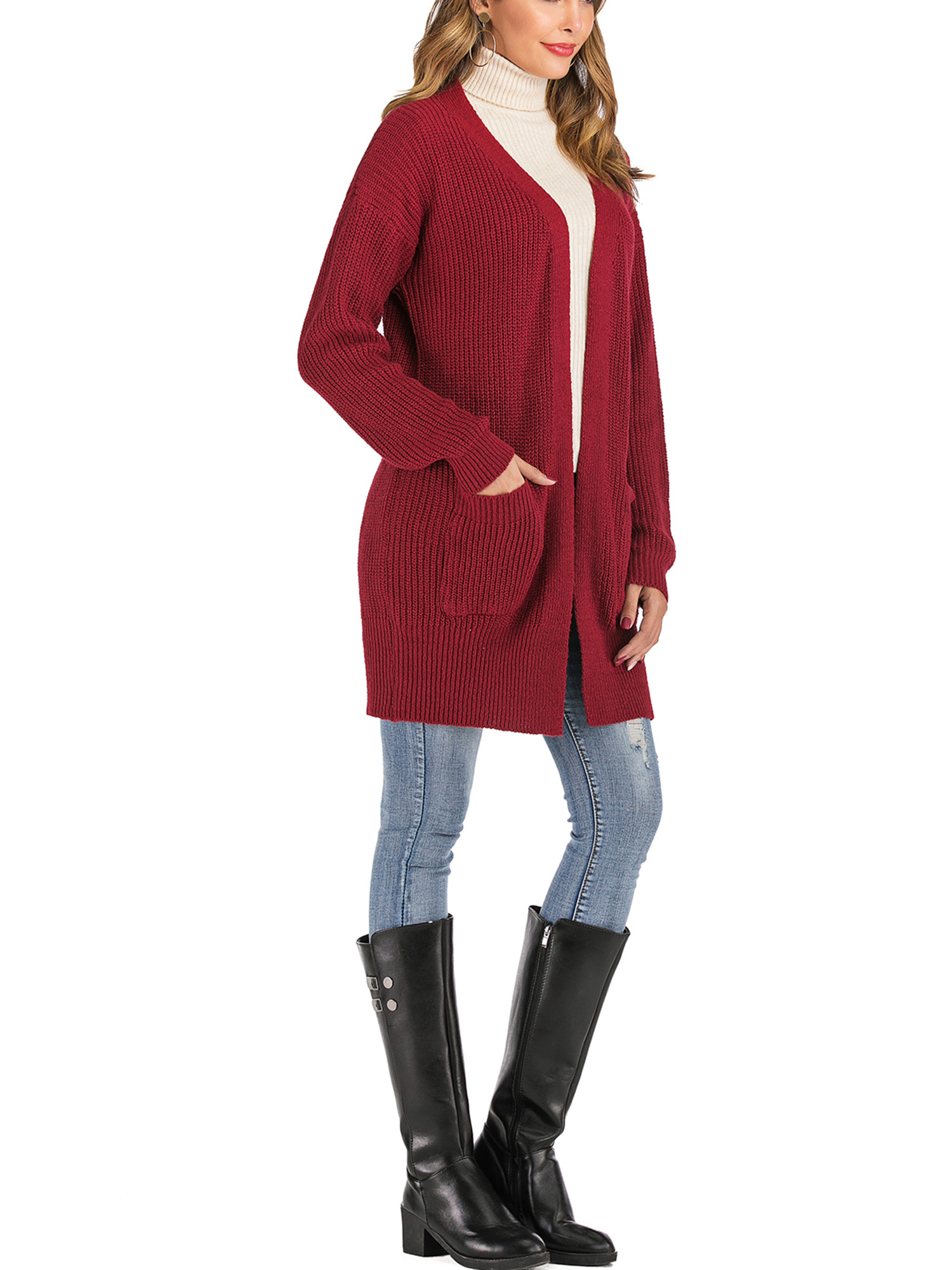 Winter Women Knit Open Front Baggy Cardigan Coat Tops Chunky Knitted Sweater Long Sleeve Plus Size Duster Cardigan,Red