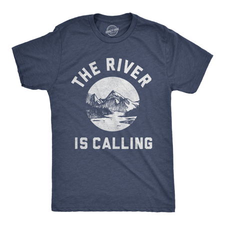 Mens The River Is Calling Tshirt Cool Outdoor Summer Vacation Tee For Guys