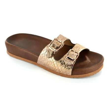 - Corkys Women's Silver Bell Slip On Sandals Gold Snake